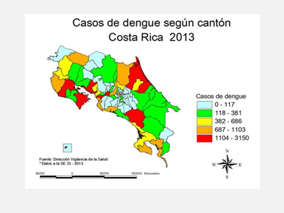 Atención de casos por la CCSS a la SE 33 Total de Unidades de dengue: 8 Total de hospitalizados: 3820 Promedio de estancia hospitalaria: 3 días Tasa de hospitalización más elevada en personas de 60 años y más, seguido de las personas de 40 a 49 años, sin embargo se han tenido hospitalizaciones en todos los grupos de edad Tasa de letalidad: 0,02%