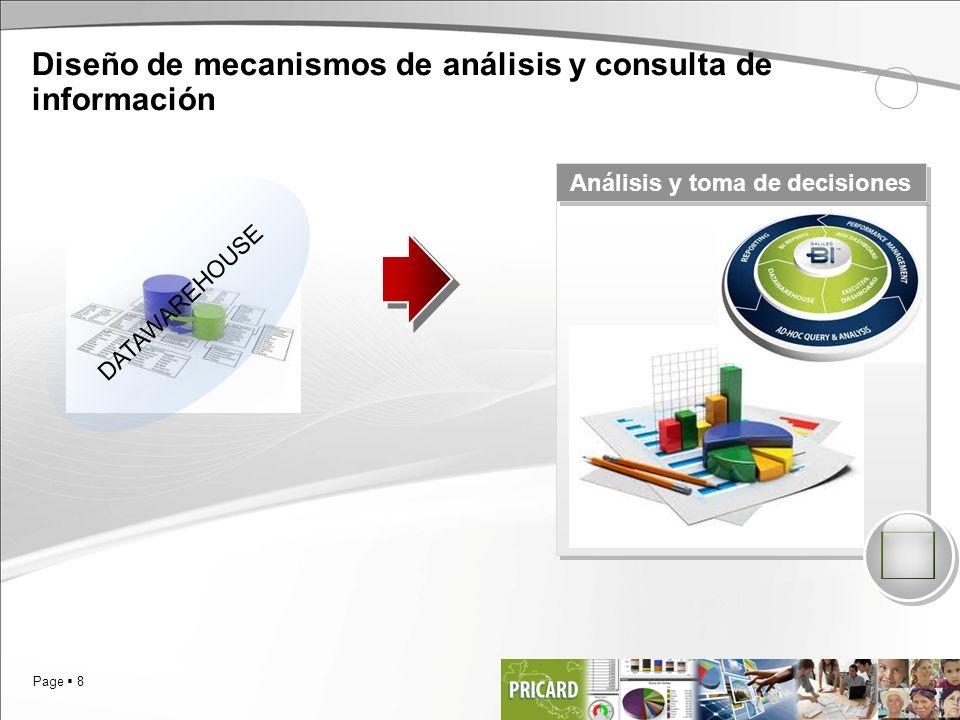 Page 8 Análisis y toma de decisiones Diseño de mecanismos de análisis y consulta de información 1 SCENE DATAWAREHOUSE