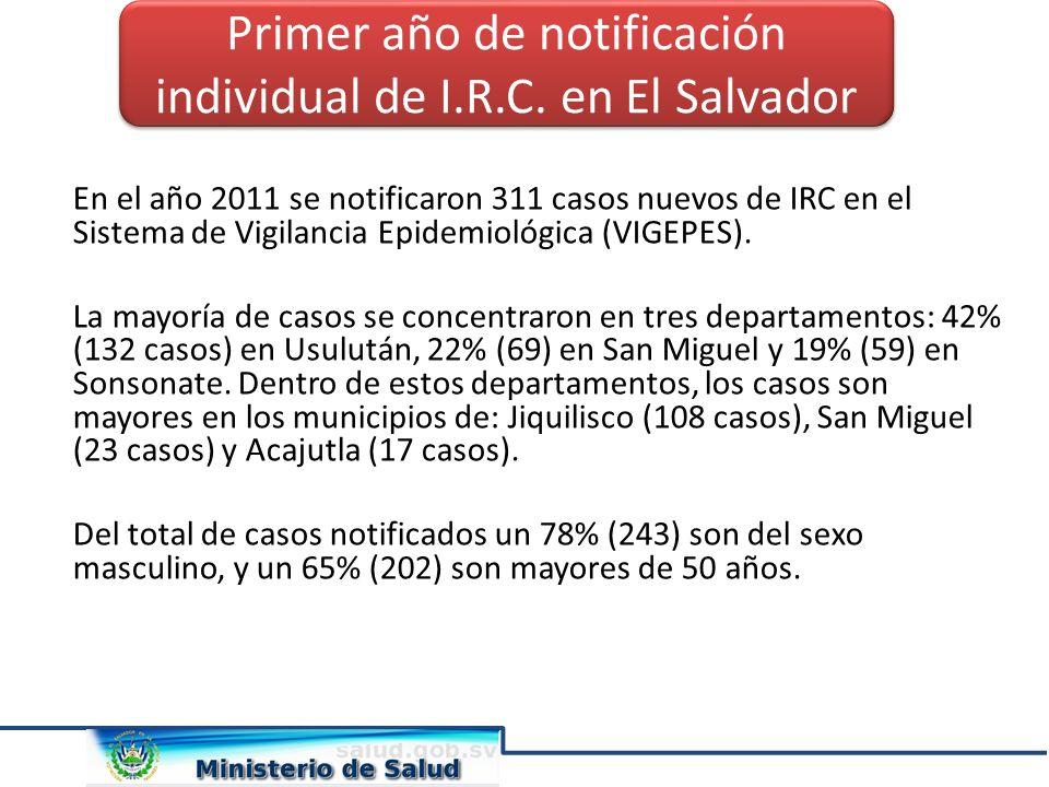 En el año 2011 se notificaron 311 casos nuevos de IRC en el Sistema de Vigilancia Epidemiológica (VIGEPES). La mayoría de casos se concentraron en tre