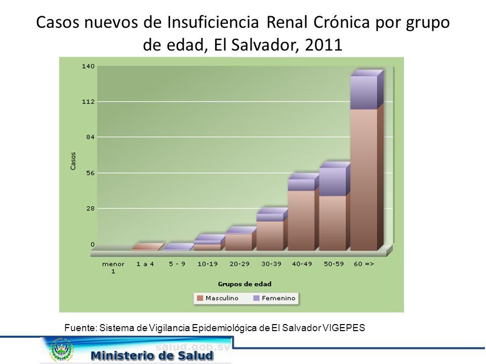 Casos nuevos de Insuficiencia Renal Crónica por grupo de edad, El Salvador, 2011 Fuente: Sistema de Vigilancia Epidemiológica de El Salvador VIGEPES