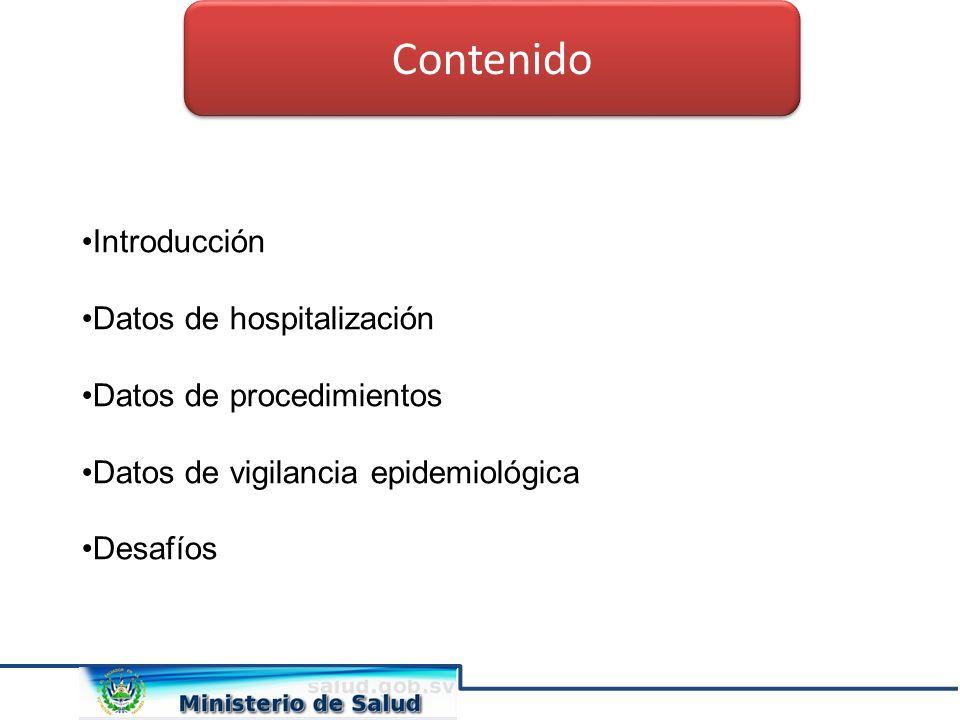 Introducción Datos de hospitalización Datos de procedimientos Datos de vigilancia epidemiológica Desafíos Contenido