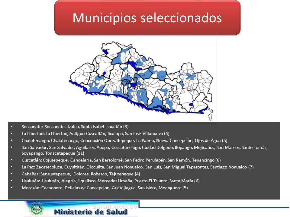 Sonsonate: Sonsonate, Izalco, Santa Isabel Ishuatán (3) La Libertad: La Libertad, Antiguo Cuscatlán, Jicalapa, San José Villanueva (4) Chalatenango: C