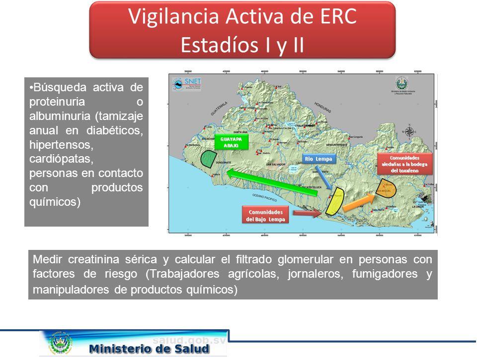 Vigilancia Activa de ERC Estadíos I y II Vigilancia Activa de ERC Estadíos I y II Búsqueda activa de proteinuria o albuminuria (tamizaje anual en diab