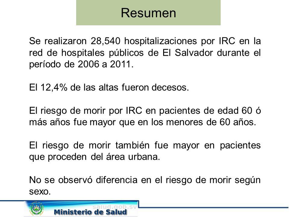 Resumen Se realizaron 28,540 hospitalizaciones por IRC en la red de hospitales públicos de El Salvador durante el período de 2006 a 2011. El 12,4% de