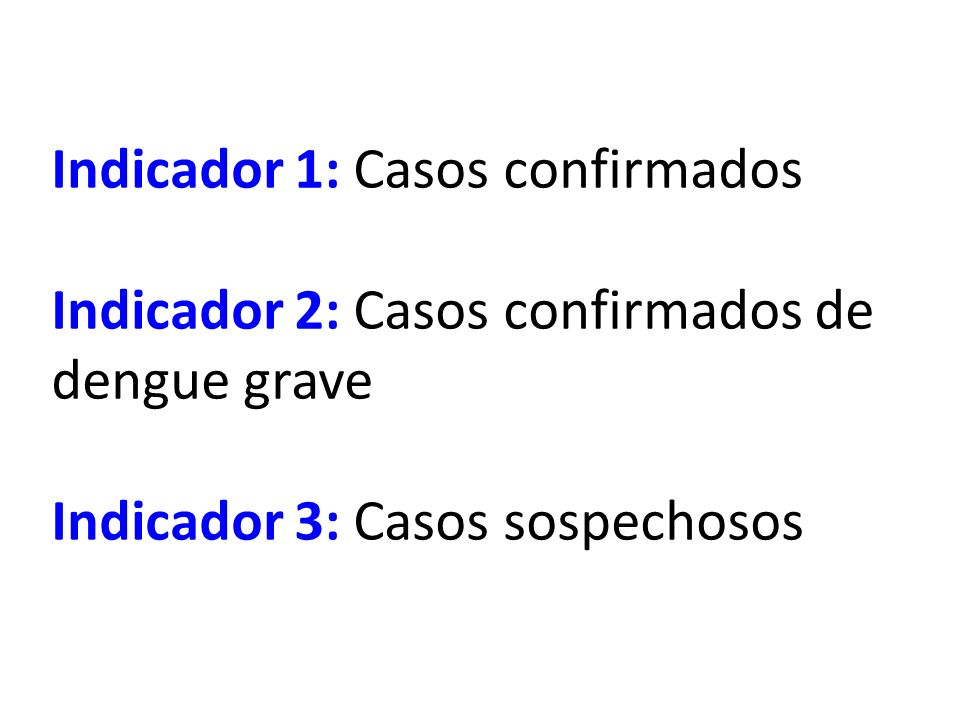 Indicador 1: Casos confirmados Indicador 2: Casos confirmados de dengue grave Indicador 3: Casos sospechosos