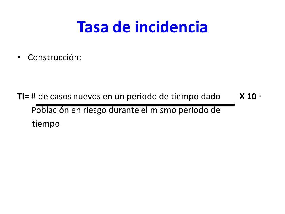 Tasa de incidencia Construcción: TI TI= # de casos nuevos en un periodo de tiempo dado X 10 n Población en riesgo durante el mismo periodo de tiempo