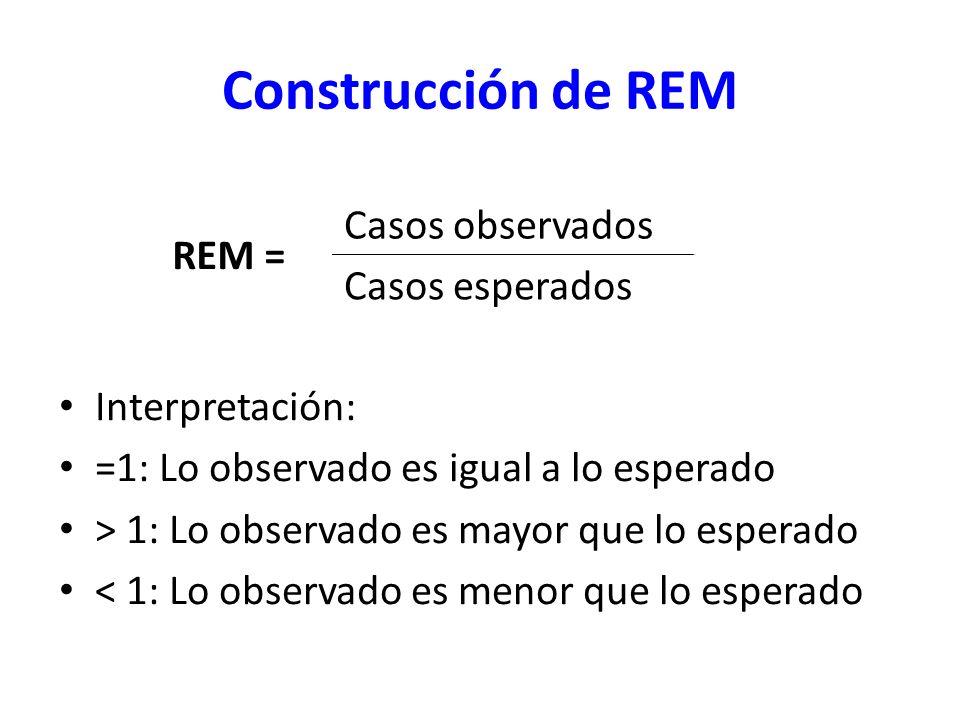 Construcción de REM Interpretación: =1: Lo observado es igual a lo esperado > 1: Lo observado es mayor que lo esperado < 1: Lo observado es menor que
