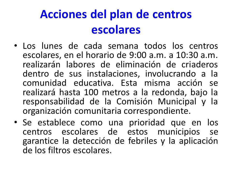 Los lunes de cada semana todos los centros escolares, en el horario de 9:00 a.m. a 10:30 a.m. realizarán labores de eliminación de criaderos dentro de
