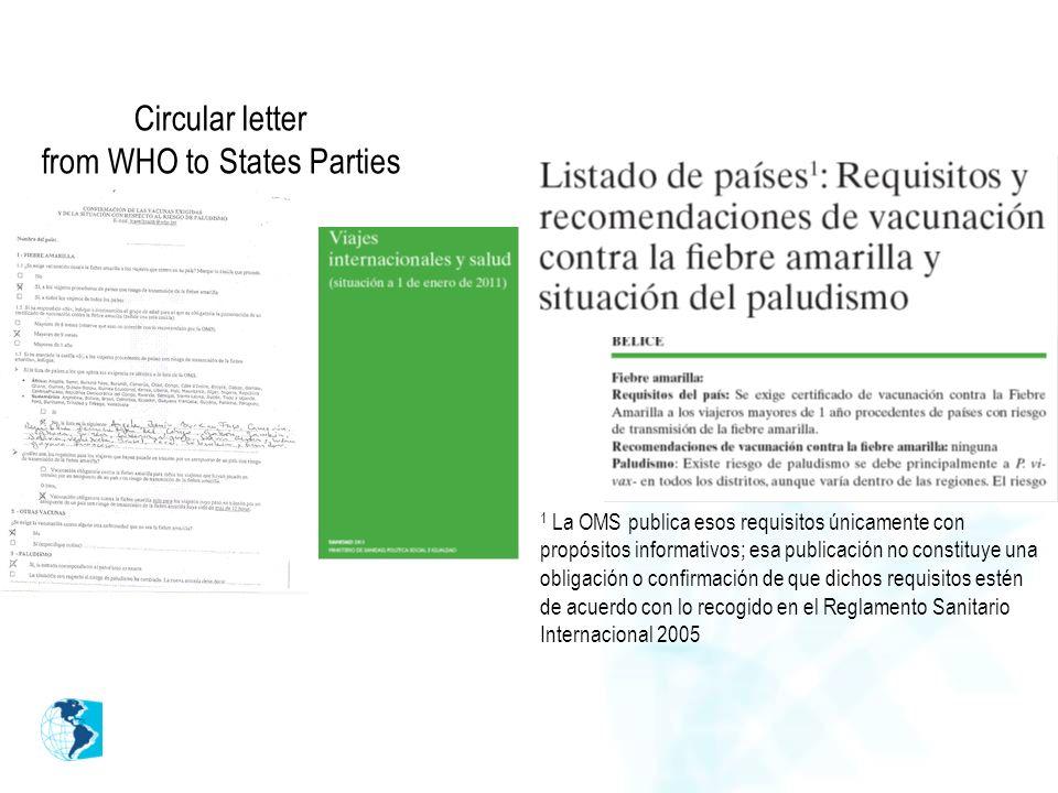 Circular letter from WHO to States Parties 1 La OMS publica esos requisitos únicamente con propósitos informativos; esa publicación no constituye una