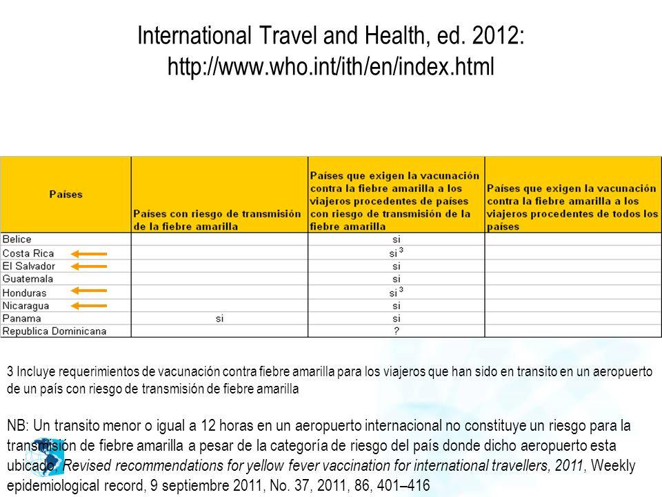 International Travel and Health, ed. 2012: http://www.who.int/ith/en/index.html 3 Incluye requerimientos de vacunación contra fiebre amarilla para los
