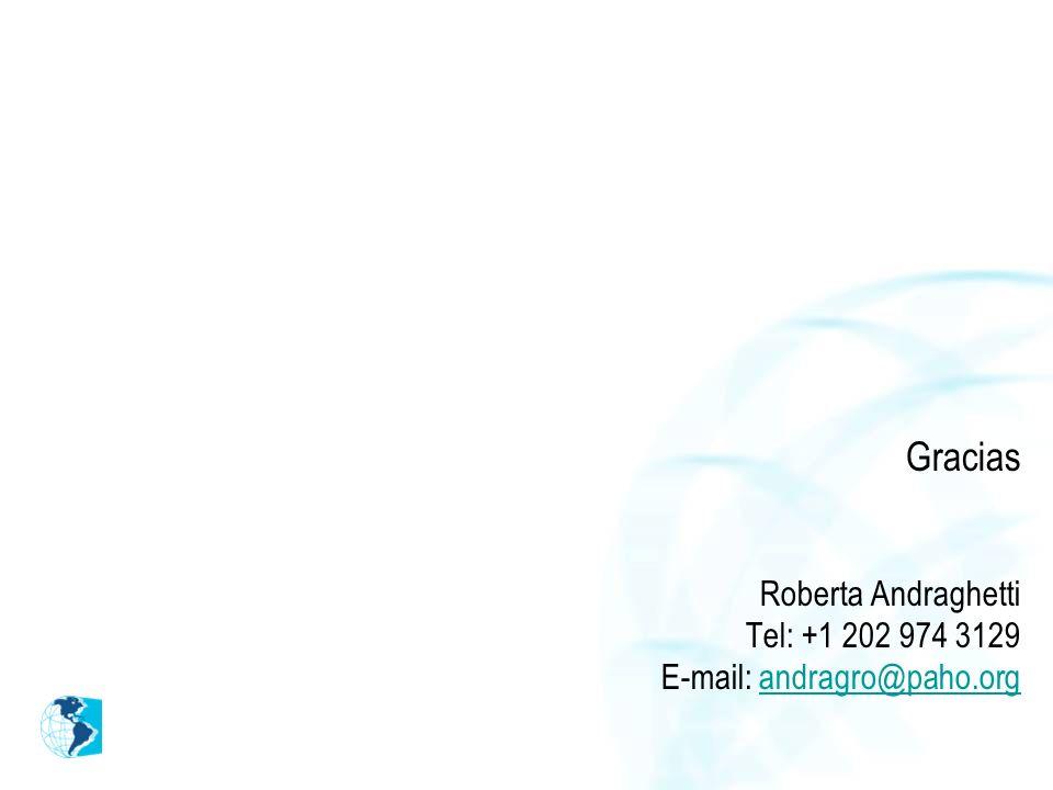 Gracias Roberta Andraghetti Tel: +1 202 974 3129 E-mail: andragro@paho.organdragro@paho.org