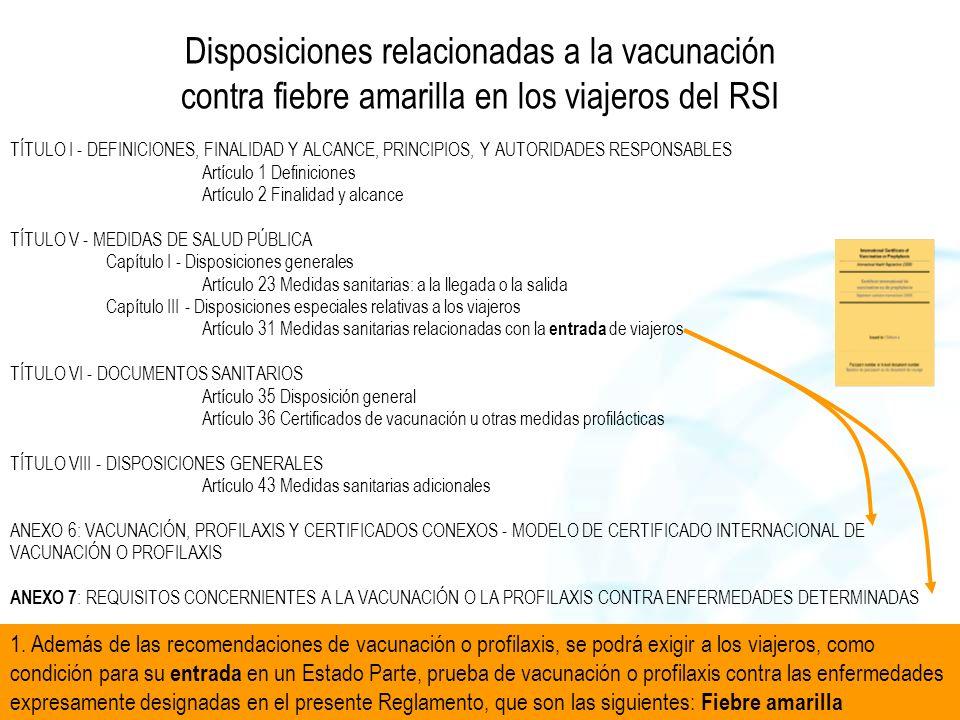Disposiciones relacionadas a la vacunación contra fiebre amarilla en los viajeros del RSI TÍTULO I - DEFINICIONES, FINALIDAD Y ALCANCE, PRINCIPIOS, Y