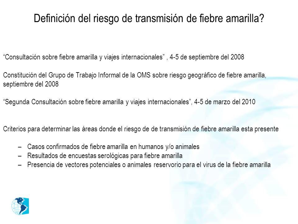 Definición del riesgo de transmisión de fiebre amarilla? Consultación sobre fiebre amarilla y viajes internacionales, 4-5 de septiembre del 2008 Const