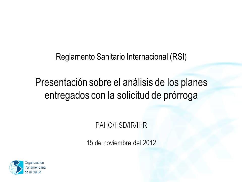Organización Panamericana de la Salud Reglamento Sanitario Internacional (RSI) Presentación sobre el análisis de los planes entregados con la solicitud de prórroga PAHO/HSD/IR/IHR 15 de noviembre del 2012