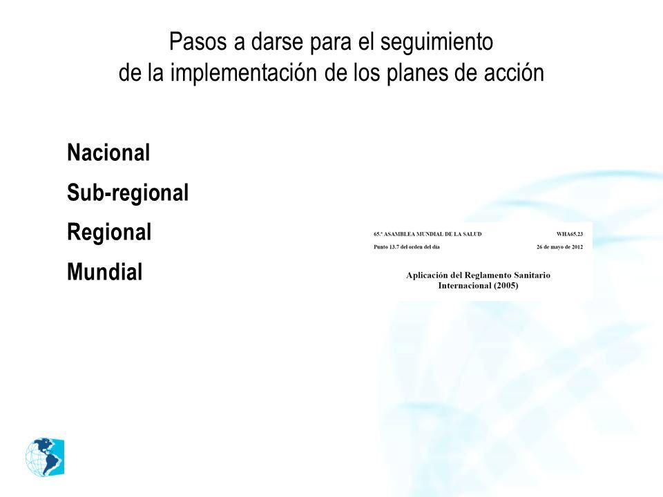 Pasos a darse para el seguimiento de la implementación de los planes de acción Nacional Sub-regional Regional Mundial
