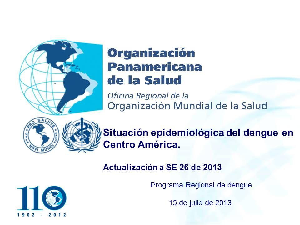 Organización Panamericana de la Salud Situación del dengue en el mundo y en la región de las Américas.