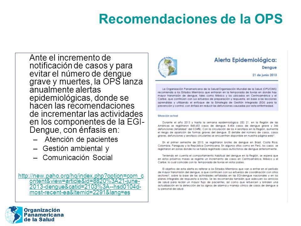 Organización Panamericana de la Salud Recomendaciones de la OPS Ante el incremento de notificación de casos y para evitar el número de dengue grave y muertes, la OPS lanza anualmente alertas epidemiológicas, donde se hacen las recomendaciones de incrementar las actividades en los componentes de la EGI- Dengue, con énfasis en: – Atención de pacientes –Gestión ambiental y –Comunicación Social http://new.paho.org/hq/index.php?option=com_c ontent&view=article&id=8820%3A21-june- 2013-dengue&catid=2103%3A--hsd0104d- most-recent-ea&Itemid=2291&lang=es