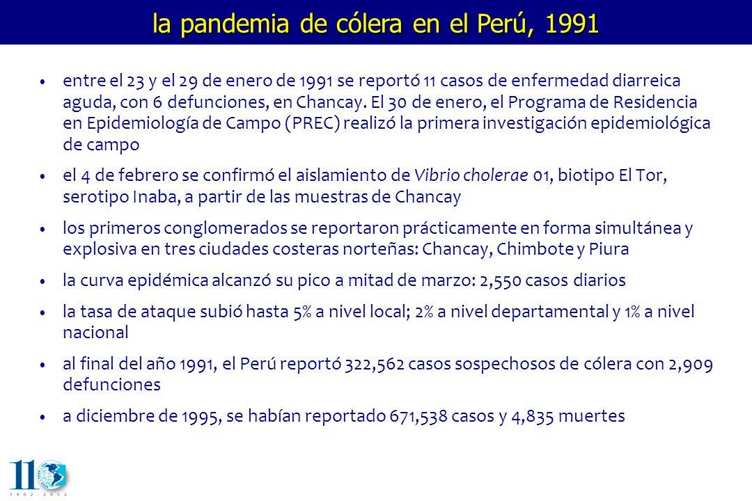 evolución de la pandemia de cólera en el Perú 1357911131517192123252729313335373941434547495153 semanas epidemiológicas casos incidentes 0 3,000 6,000 9,000 12,000 15,000 18,000 21,000 1991