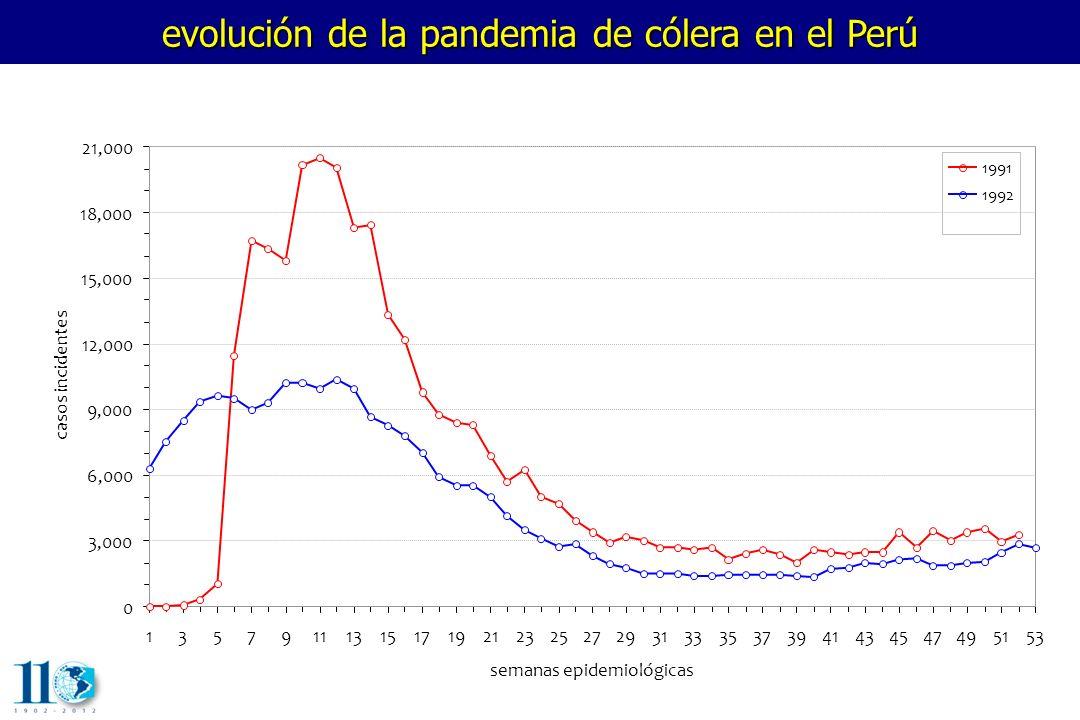 evolución de la pandemia de cólera en el Perú 1357911131517192123252729313335373941434547495153 semanas epidemiológicas casos incidentes 0 3,000 6,000 9,000 12,000 15,000 18,000 21,000 1991 1992 1993