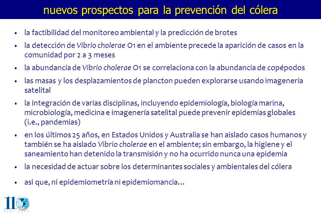 la factibilidad del monitoreo ambiental y la predicción de brotes la detección de Vibrio cholerae O1 en el ambiente precede la aparición de casos en l