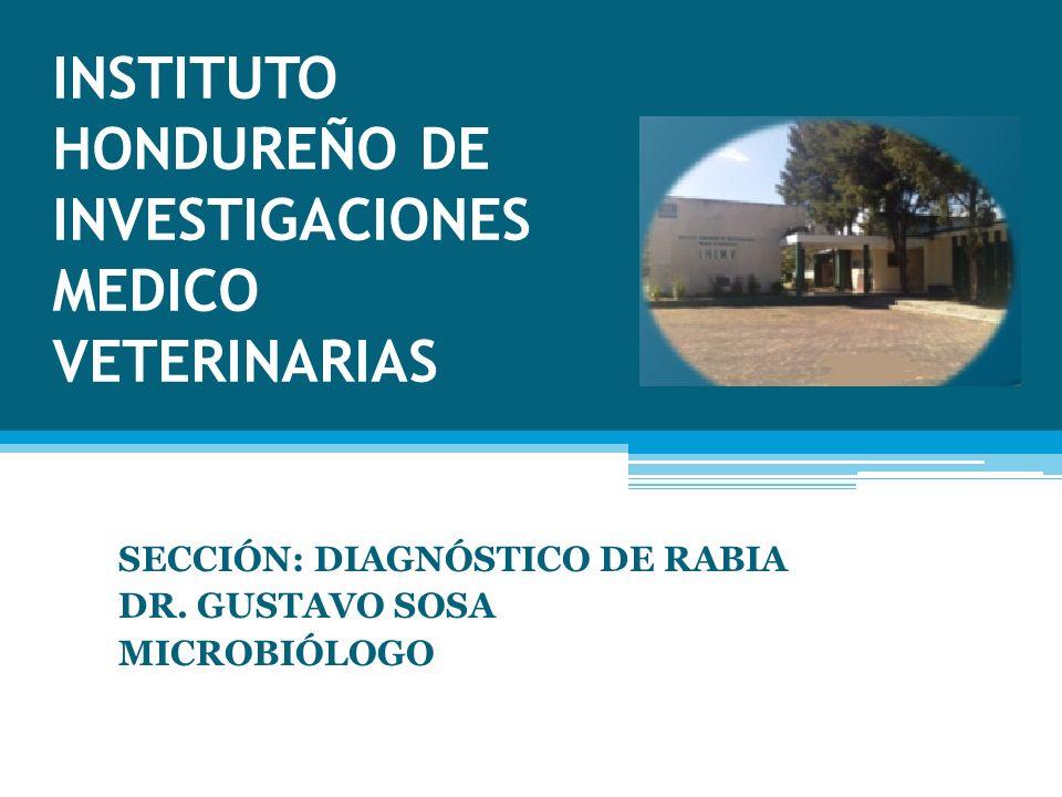 INSTITUTO HONDUREÑO DE INVESTIGACIONES MEDICO VETERINARIAS SECCIÓN: DIAGNÓSTICO DE RABIA DR.