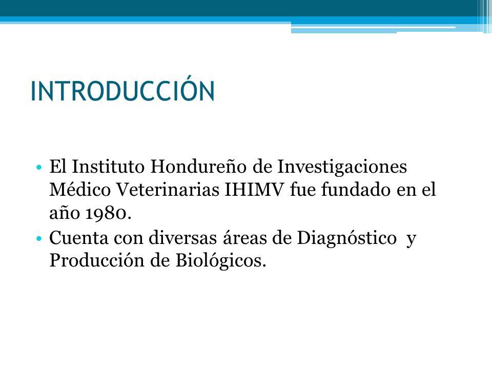 INTRODUCCIÓN El Instituto Hondureño de Investigaciones Médico Veterinarias IHIMV fue fundado en el año 1980.