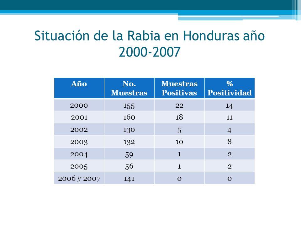 Situación de la Rabia en Honduras año 2000-2007 AñoNo.