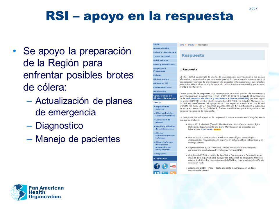 RSI: Áreas de trabajo para su aplicación 1.Impulso de las alianzas mundiales 2.Fortalecimiento de los sistemas nacionales de vigilancia y respuesta 3.Fortalecimiento de la seguridad sanitaria en los viajes y el transporte 4.Fortalecimiento de los sistemas mundiales de alerta y respuesta de la OMS 5.Fortalecimiento de la gestión de riesgos 6.Respaldo de los derechos, obligaciones y procedimientos 7.Realización de estudios y vigilancia de los progresos