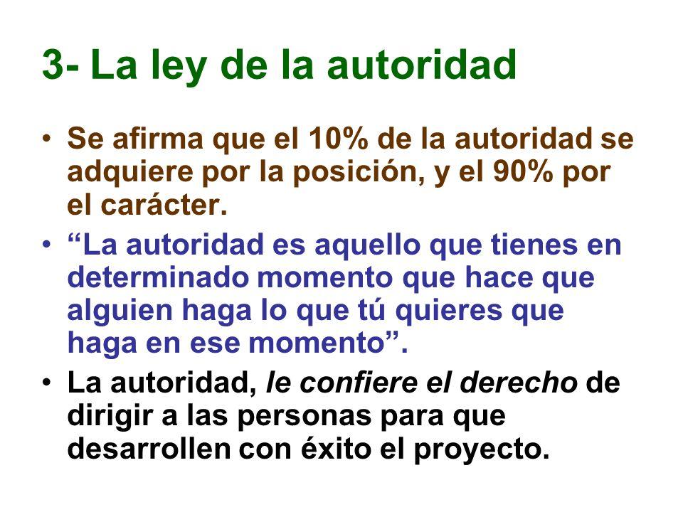 3- La ley de la autoridad Se afirma que el 10% de la autoridad se adquiere por la posición, y el 90% por el carácter. La autoridad es aquello que tien