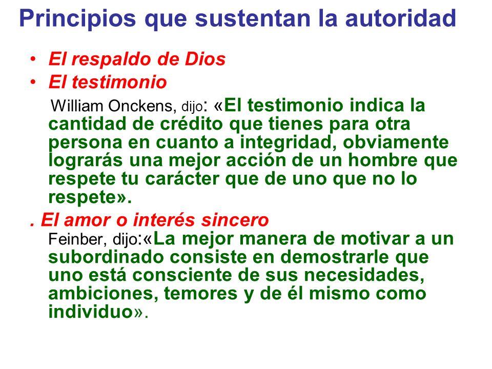 Principios que sustentan la autoridad El respaldo de Dios El testimonio William Onckens, dijo : «El testimonio indica la cantidad de crédito que tiene