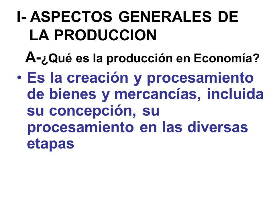 I- ASPECTOS GENERALES DE LA PRODUCCION A- ¿Qué es la producción en Economía? Es la creación y procesamiento de bienes y mercancías, incluida su concep