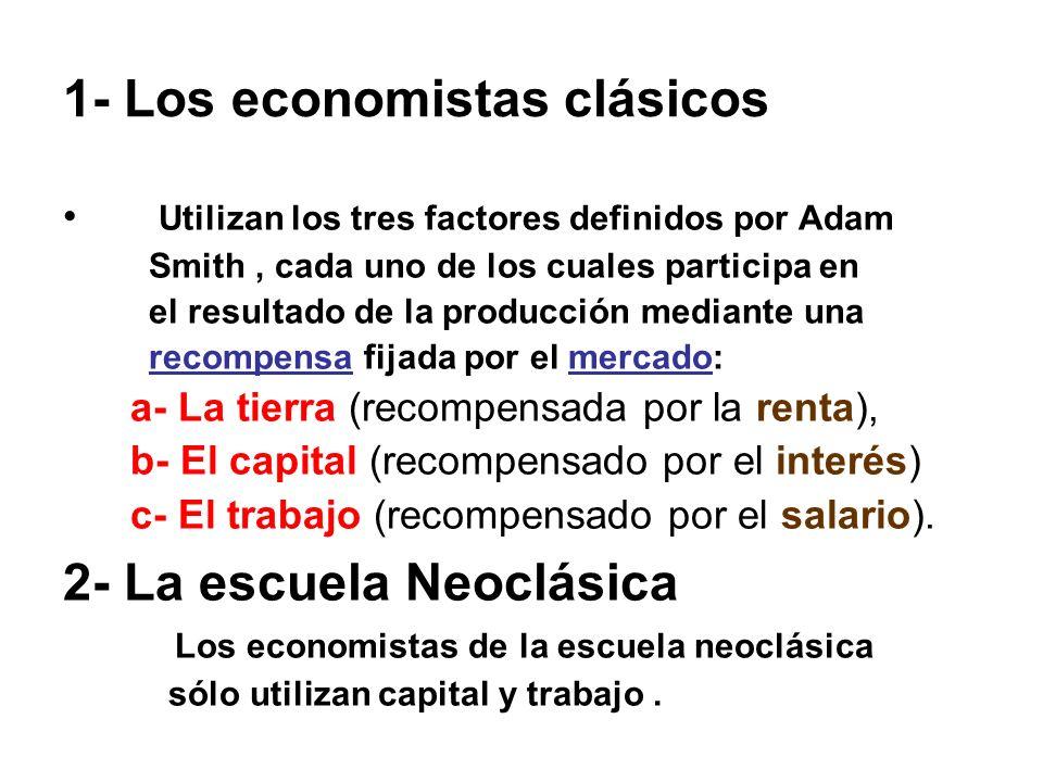 1- Los economistas clásicos Utilizan los tres factores definidos por Adam Smith, cada uno de los cuales participa en el resultado de la producción med