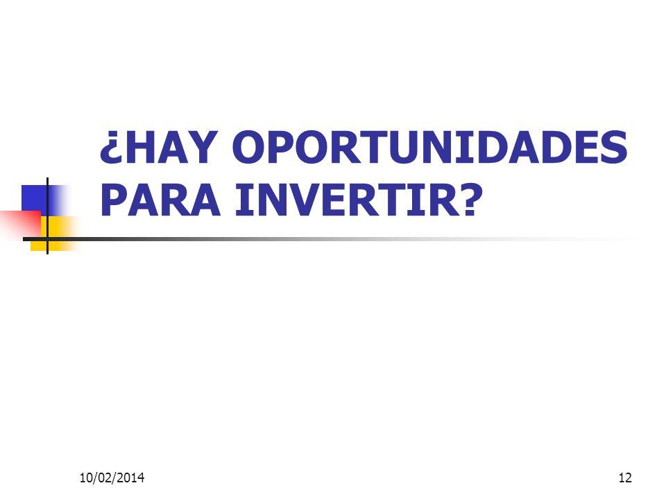 10/02/201412 ¿HAY OPORTUNIDADES PARA INVERTIR?