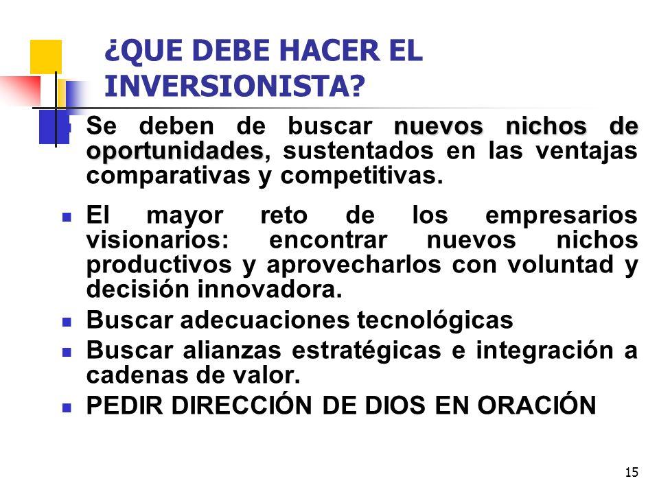 15 ¿QUE DEBE HACER EL INVERSIONISTA? nuevos nichos de oportunidades Se deben de buscar nuevos nichos de oportunidades, sustentados en las ventajas com