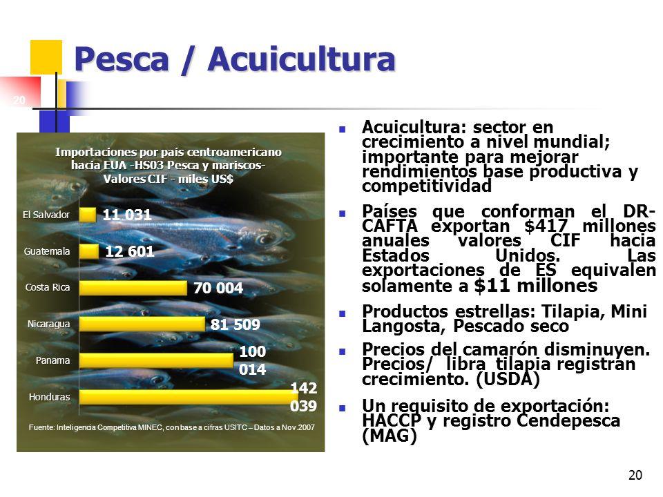 20 Pesca / Acuicultura Acuicultura: sector en crecimiento a nivel mundial; importante para mejorar rendimientos base productiva y competitividad Paíse