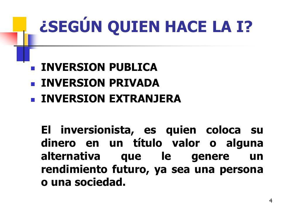 15 ¿QUE DEBE HACER EL INVERSIONISTA.