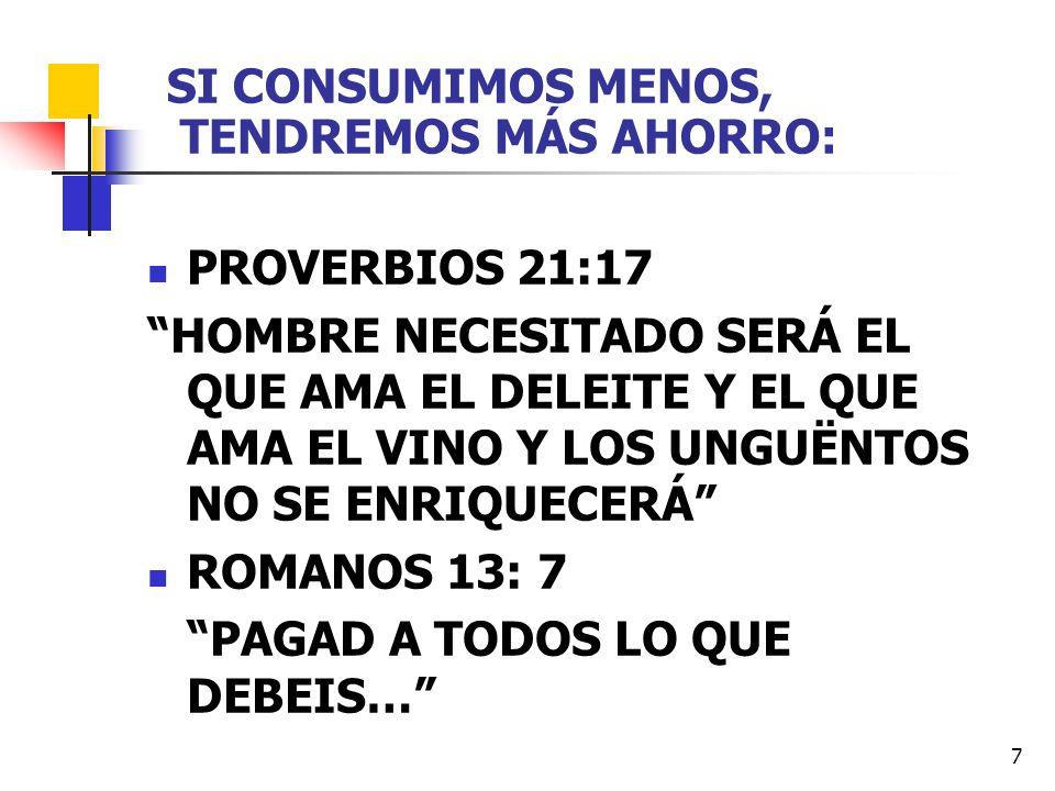 7 SI CONSUMIMOS MENOS, TENDREMOS MÁS AHORRO: PROVERBIOS 21:17 HOMBRE NECESITADO SERÁ EL QUE AMA EL DELEITE Y EL QUE AMA EL VINO Y LOS UNGUËNTOS NO SE