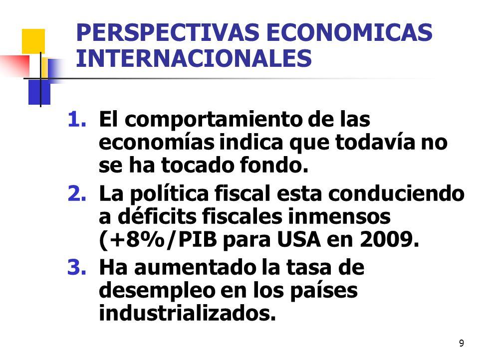 9 PERSPECTIVAS ECONOMICAS INTERNACIONALES 1.El comportamiento de las economías indica que todavía no se ha tocado fondo. 2.La política fiscal esta con