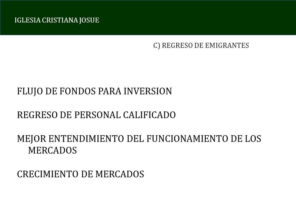 IGLESIA CRISTIANA JOSUE C) REGRESO DE EMIGRANTES FLUJO DE FONDOS PARA INVERSION REGRESO DE PERSONAL CALIFICADO MEJOR ENTENDIMIENTO DEL FUNCIONAMIENTO