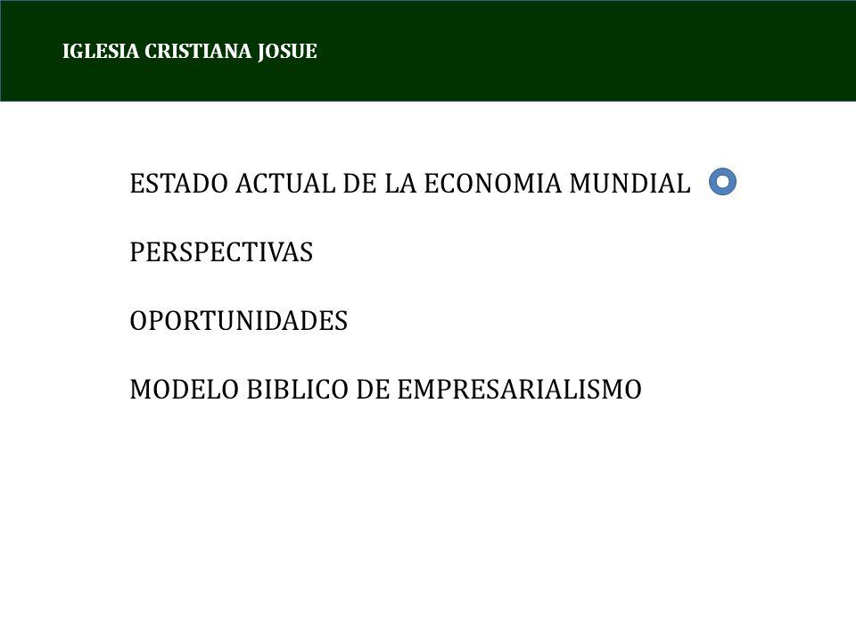 IGLESIA CRISTIANA JOSUE ESTADO ACTUAL DE LA ECONOMIA MUNDIAL PERSPECTIVAS OPORTUNIDADES MODELO BIBLICO DE EMPRESARIALISMO
