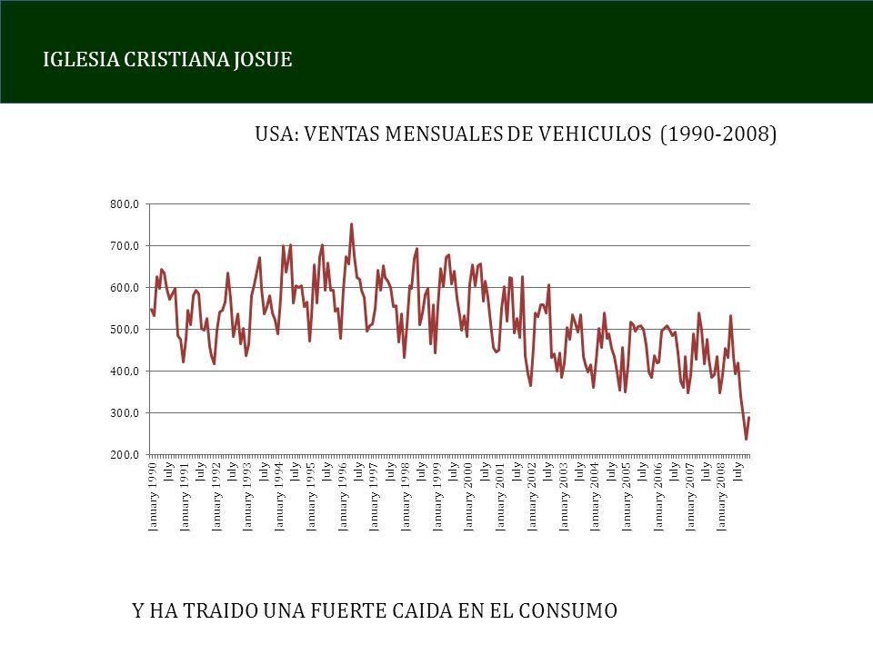 IGLESIA CRISTIANA JOSUE USA: VENTAS MENSUALES DE VEHICULOS (1990-2008) Y HA TRAIDO UNA FUERTE CAIDA EN EL CONSUMO