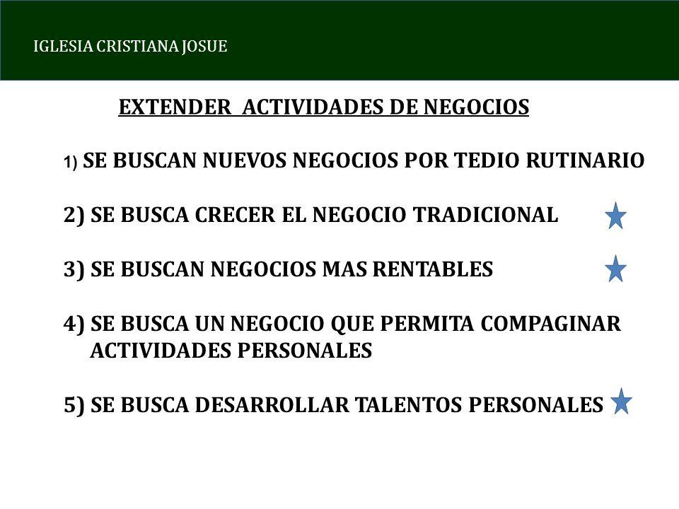 IGLESIA CRISTIANA JOSUE EXTENDER ACTIVIDADES DE NEGOCIOS 1) SE BUSCAN NUEVOS NEGOCIOS POR TEDIO RUTINARIO 2) SE BUSCA CRECER EL NEGOCIO TRADICIONAL 3)