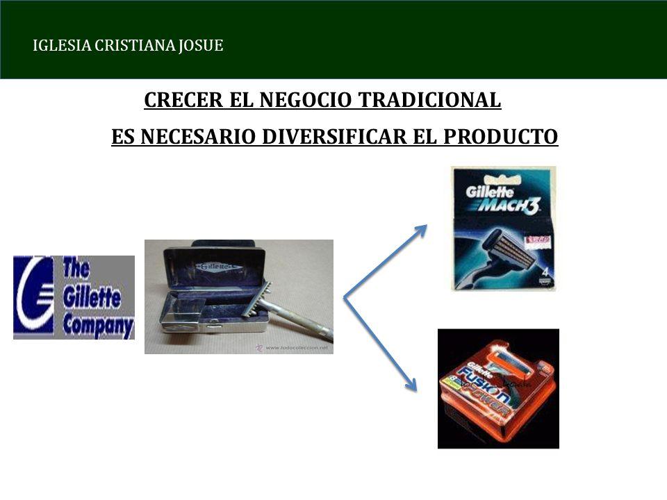 IGLESIA CRISTIANA JOSUE CRECER EL NEGOCIO TRADICIONAL ES NECESARIO DIVERSIFICAR EL PRODUCTO