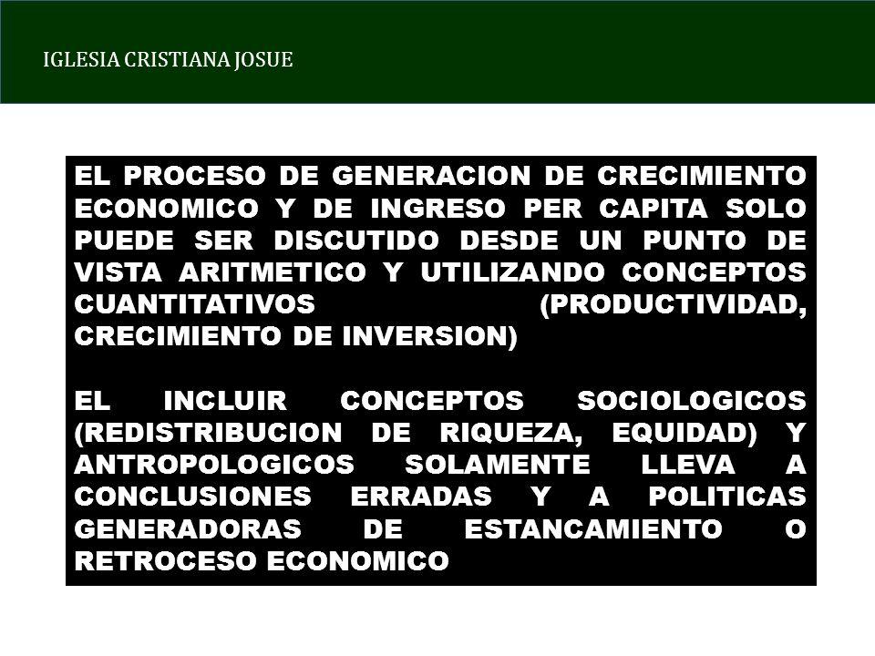 IGLESIA CRISTIANA JOSUE EL PROCESO DE GENERACION DE CRECIMIENTO ECONOMICO Y DE INGRESO PER CAPITA SOLO PUEDE SER DISCUTIDO DESDE UN PUNTO DE VISTA ARITMETICO Y UTILIZANDO CONCEPTOS CUANTITATIVOS (PRODUCTIVIDAD, CRECIMIENTO DE INVERSION) EL INCLUIR CONCEPTOS SOCIOLOGICOS (REDISTRIBUCION DE RIQUEZA, EQUIDAD) Y ANTROPOLOGICOS SOLAMENTE LLEVA A CONCLUSIONES ERRADAS Y A POLITICAS GENERADORAS DE ESTANCAMIENTO O RETROCESO ECONOMICO