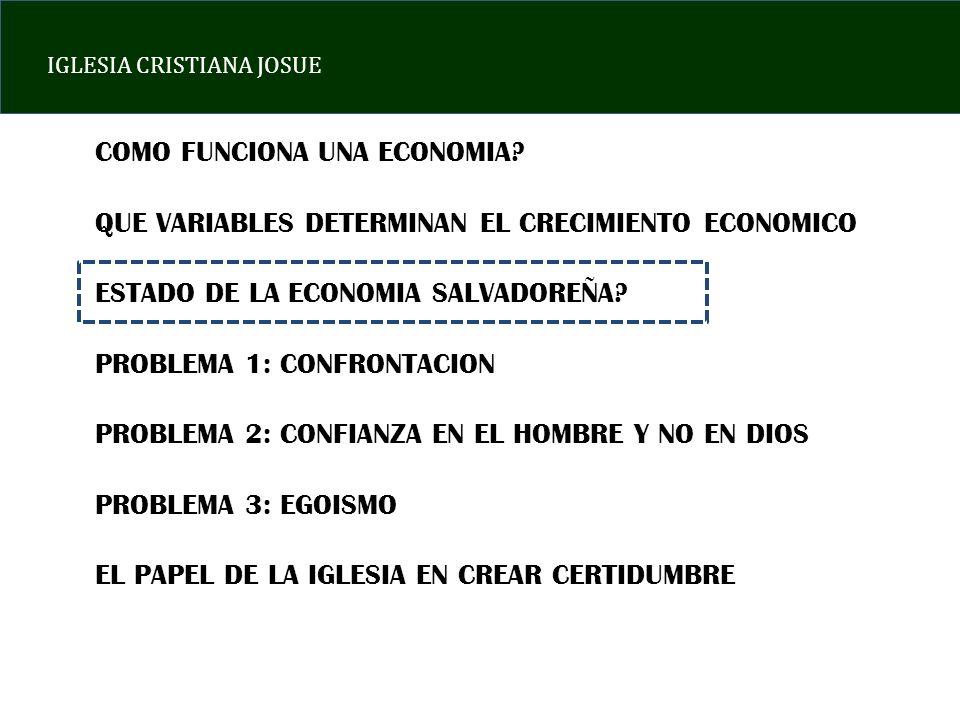 IGLESIA CRISTIANA JOSUE COMO FUNCIONA UNA ECONOMIA.