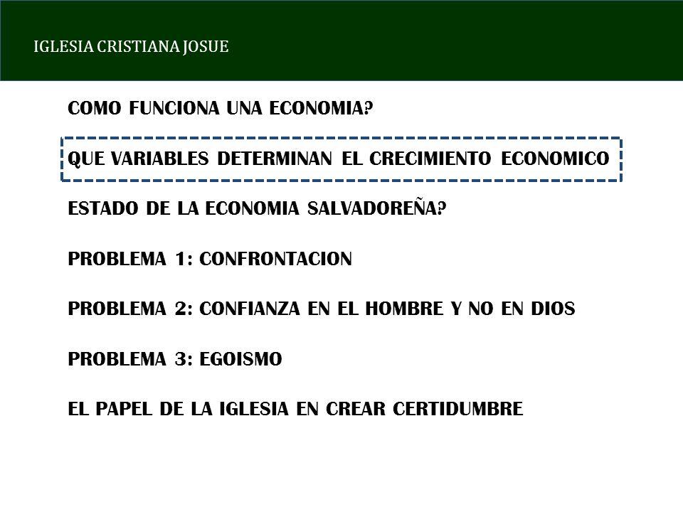 IGLESIA CRISTIANA JOSUE EN RESUMEN: a)EL SALVADOR ES UN PAIS CON NIVELES DE CRECIMIENTO ECONOMICO INSUFICIENTES PARA MEJORAR LAS CONDICIONES DE VIDA DE SUS HABITANTES b)LA INVERSION PRIVADA HA CAIDO DRASTICAMENTE LO QUE COMPROMETE AUN MAS EL CRECIMIENTO ECONOMICO EN EL FUTURO c)EL EMPLEO FORMAL NO SE RECUPERA DE LA CRISIS DEL AÑO 2008 d)EL ESTADO DE EL SALVADOR SE ENDEUDA DE FORMA ACELERADA.