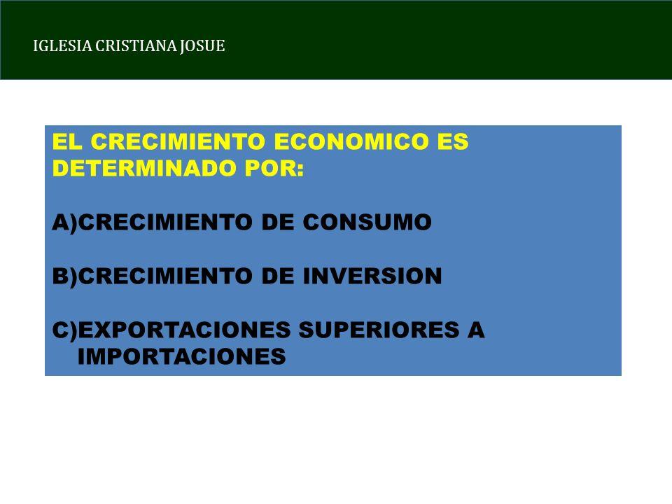 IGLESIA CRISTIANA JOSUE VARIBLES QUE DETERMINAN EL CRECIMIENTO A) CONSUMO: EMPLEO, INGRESO, RENTABILIDAD DEL AHORRO, EXPECTATIVAS B)CRECIMIENTO DE INVERSION: PAZ SOCIAL, ACTITUD POSITIVA DEL GOBIERNO, EXPECTATIVAS, MONTO DE AHORRO NACIONAL C)EXPORTACIONES SUPERIORES A IMPORTACIONES: EDUCACION, INVERSION, INFRAESTRUCTURA