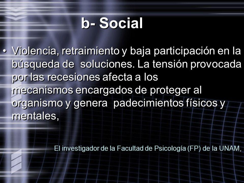 b- Social Violencia, retraimiento y baja participación en la búsqueda de soluciones. La tensión provocada por las recesiones afecta a los mecanismos e