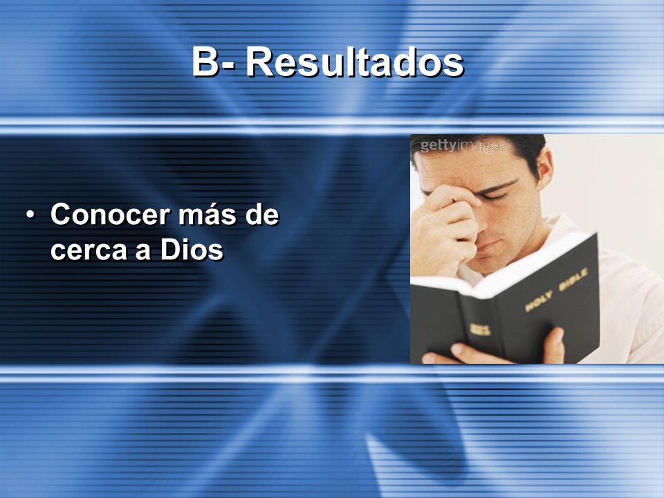Conocer más de cerca a Dios B- Resultados