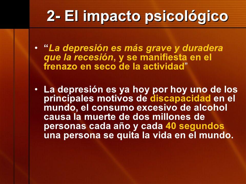 2- El impacto psicológico La depresión es más grave y duradera que la recesión, y se manifiesta en el frenazo en seco de la actividad La depresión es